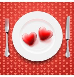 Red hearts on a plate Valentines Day vector image vector image