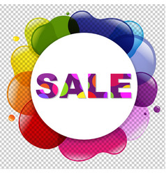 sale poster with dialog balloon and color blobs vector image vector image