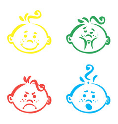 set of cute baby emoticons very simple but vector image vector image