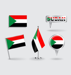 Set of sudanese pin icon and map pointer flags vector