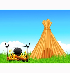 Shelter of branches and fireplace vector image vector image