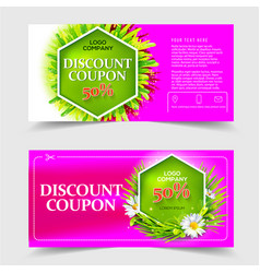 spring and summer sale discount coupon vector image