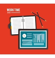 Tablet office work time supply icon vector