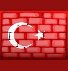 Turkey flag on brickwall vector
