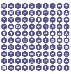 100 natural disasters icons hexagon purple vector