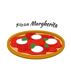 Pizza margherita in flat style vector