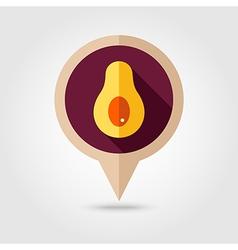 Avocado flat pin map icon tropical fruit vector