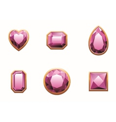 Set of pink colored gems vector
