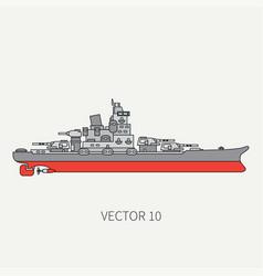 line flat color icon naval battleship vector image