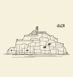 sketch of ibiza landscape vector image