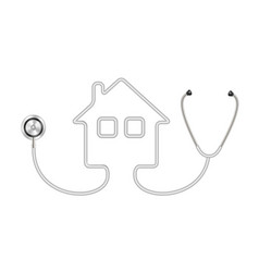 Stethoscope in shape of house in grey design vector