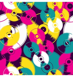 Vinyl retro seamless pattern vector