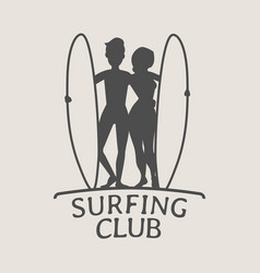 Surfing club logo icon or symbol silhouette of vector