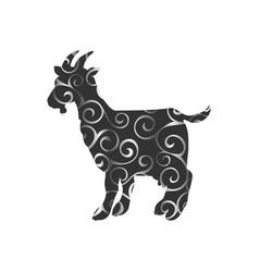 Goat farm mammal color silhouette animal vector