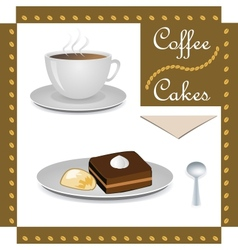 Cup of coffee and cakes vector