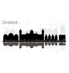 Dhaka city skyline black and white silhouette vector