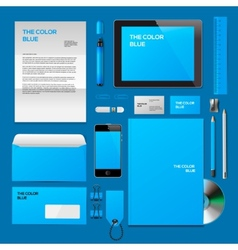 Blue corporate id mockup vector