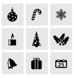 black cristmas icon set vector image
