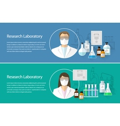 Chemical research laboratory horizontal banner vector