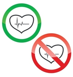 Cardiology permission signs set vector