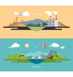 Ecology concept set in flat style vector