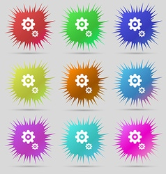 Gears icon sign a set of nine original needle vector
