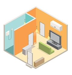 Isometric room interior filled with appliances vector