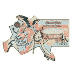 Vintage urban label with pitbull vector