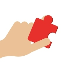Hand holding puzzle piece icon vector