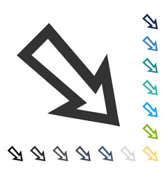 Arrow right down icon vector