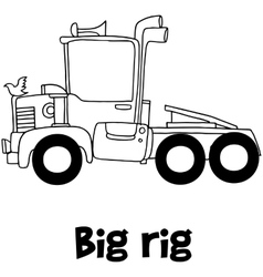 Big rig with hand draw vector image vector image
