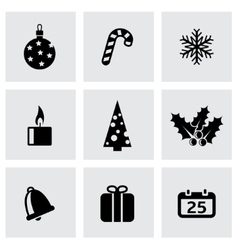 Black cristmas icon set vector