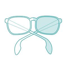 Blue silhouette shading cartoon fashion glasses vector