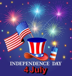 Card Independence Day with fireworks vector image vector image