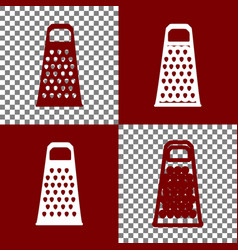 Cheese grater sign bordo and white icons vector