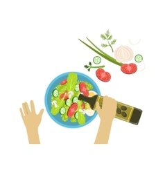 Child cooking salad with only hands vector