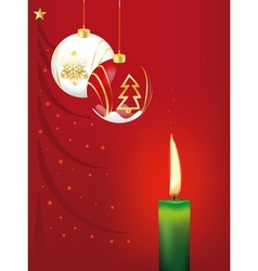 Christmas balls and candle vector image vector image