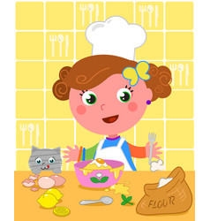 Cute girl cooking with chef hat vector