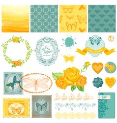 Design elements - vintage ombre butterflies vector