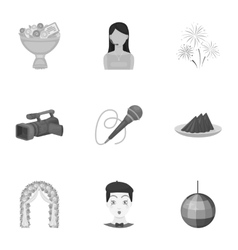 Event service set icons in monochrome style big vector