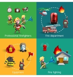 Fire fighters 4 icons square composition vector