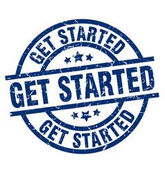 Get started blue round grunge stamp vector