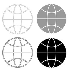 Globe the black and grey color set icon vector