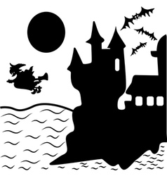 Halloween haunted castle bats witch vector