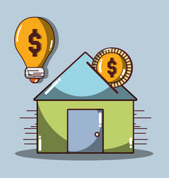 House to save money and coin vector