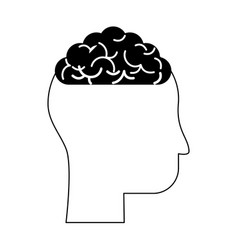 human head profile sideview with brain inside icon vector image vector image