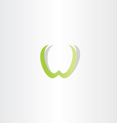 Light green w letter icon element vector