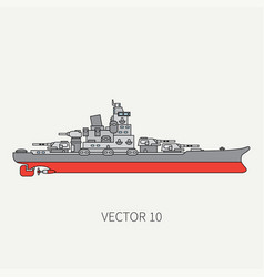 line flat color icon naval battleship vector image