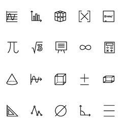 Mathematics icons 2 vector