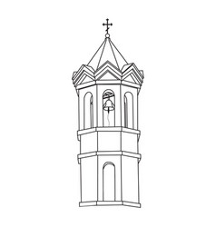 Monochrome image of a church bell tower vector